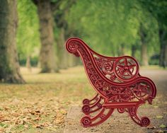 Park bench in London's Battersea Park - KeriBevan's etsy shop.