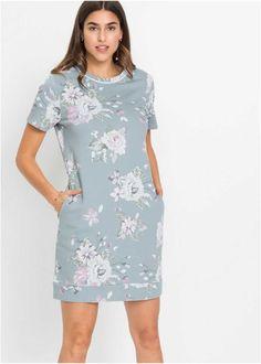 Mikinové šaty s potiskem - mátově šedá s květy Shiva, Emporio Armani, Cold Shoulder Dress, Floral, Casual, Trendy, Dresses, Products, Fashion