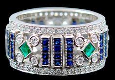 Platinum Diamond Emerald Sapphire Ring