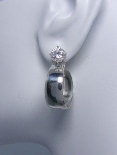 Earring Jackets for Studs Diamond Jackets Stud Jackets Post Earring Addition Sterling Silver Wide Small Diameter Dangling Hoop JHL2SSSM