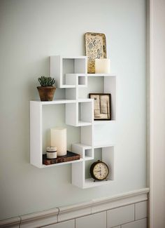 Shelving Solution Intersecting Decorative White Color Wall Shelf, Set of 4, 2 Candles Included