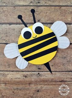 Wooden Craft Bumble Bees For Kids · The Inspiration Edit - chunky BUMBLE BEE CRAFT You are in the right place about school crafts Here we offer you the most b - Bees For Kids, Bee Crafts For Kids, Animal Crafts For Kids, Spring Crafts For Kids, Daycare Crafts, Art For Kids, Craft Kids, Spring Crafts For Preschoolers, Simple Crafts For Kids