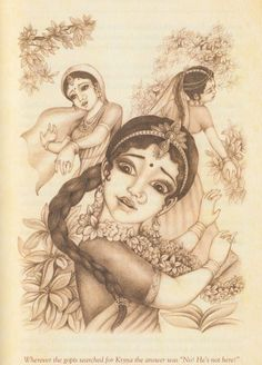Gopis searching For Krsna during the Ras Lila Radha Krishna Photo, Krishna Photos, Krishna Art, Hare Krishna, Krishna Names, Acts Of Love, Spiritual Beliefs, Radha Rani, Sweet Lord