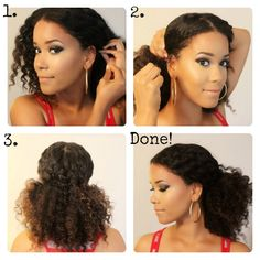Middle low part ponytail: 1. Use a comb to create a middle part and use several hair pins to secure one side. 2. Use more pins to secure the other side. 3. Pin any loose hair in the back down, so that it looks like this.