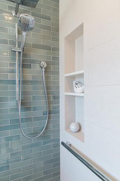 """Timeless, shimmering ""Crystal Blue"" tiles face an accent wall in this San Jose Master bathroom remodel"" Heath Tile, Blue Bathroom, Small Bathroom, Bathroom Inspiration, Bathroom Remodel Shower, Bathrooms Remodel, Bathroom Makeover, Tile Accent Wall, Bathroom Shower"