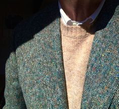 J. Press Flap Pocket OCBD, LL Bean Lambswool crewneck sweater, O'Connell's 3 roll 2 sport coat, of hand woven Donegal tweed, produced in County Donegal Ireland with flecks of colored wool, randomly tossed onto the loom.