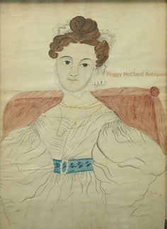 Antique American Folk Art Watercolor Portrait of Lady in White by Emily Eastman