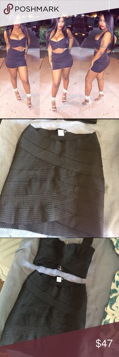 Black sultry bandage 2 piece set Worn once ! Very trendy . Good condition . Form fitting that contours your silhouette ! One of my favorite night outfit  ! Skirts Skirt Sets
