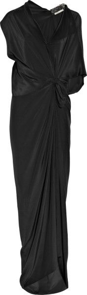 Victoria Beckham Embellished Parachute-silk Gown in Black