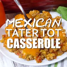 Mexican Food Recipes 592082682242028019 - Mexican Tater Tot Casserole – This Mexican Tater Tot Casserole was a hit with my family! It was spicy, hearty and tasty. Comfort food for the win. Easy Casserole Recipes, Easy Dinner Recipes, Breakfast Recipes, Easy Meals, Casserole Dishes, Tater Tot Recipes, Tattor Tot Casserole, Tatertot Casserole Recipe, Easy Steak Recipes