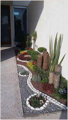 - Jardin maison neuve – idées jardin – B - Front Garden Landscape, Small Front Yard Landscaping, Landscaping Ideas, Small Backyard Pools, Stone Landscaping, Landscape Edging, Inexpensive Landscaping, Garden Yard Ideas, Backyard Garden Design
