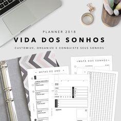 O Planner Vida dos Sonhos 2018 veio pra te ajudar a se organizar e dar uma forcinha na realização dos sonhos que você imaginou pra esse ano.