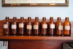 Medicine bottle line-up.