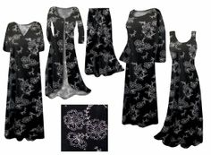 NEW!! Black with Silver Daisies print - dresses, skirts, pants, shirts, and jackets available in plus and supersizes - http://sanctuarie.com/neblwdaglslp.html