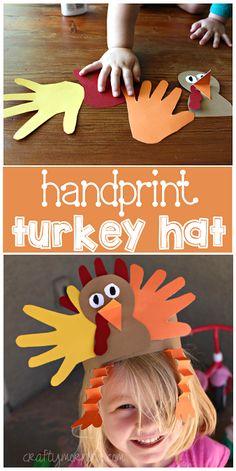 Handprint Turkey Hat Art Project #Thanksgiving craft for kids to make! | CraftyMorning.com