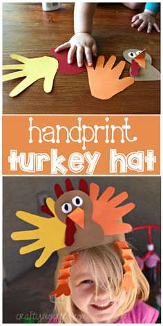 Handprint Turkey Hat Art Project #Thanksgiving craft for kids to make! | CraftyMorning.com