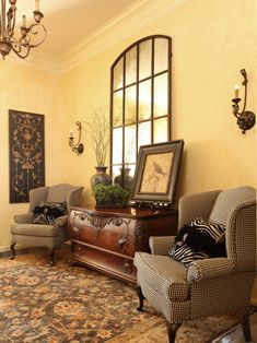 Traditional Entry Tuscan Style Design, Pictures, Remodel, Decor and Ideas; nice design for sitting area.