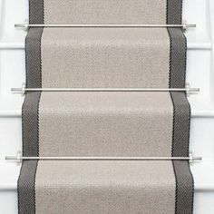 Other couloirs available. Jenna, these are the stair runner rods I mentioned. You could get ghee in antique gold or brass or oil rubbed bronze depending on the hardware finish in your foyer. - Model Home Interior Design Stair Runner Rods, Staircase Runner, Stair Rods, Stair Runners, Hallway Runner, Carpet Runner On Stairs, Stair Railing, Hall Carpet, Carpet Stairs