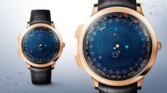 Midnight Planétarium timepiece - Van Cleef & Arpels. Provides a miniature representation of the movement of six planets around the sun and their position at any given time. The six planets are Mercury, Venus, Mars, Jupiter, Saturn - all of which are visible from Earth with the naked eye - and Earth.