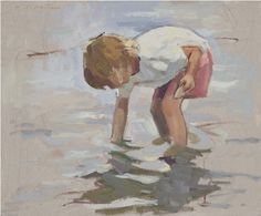 Gathering Shells. 20 x 24 | oil on canvas. Represented by David Slonim Studio, Anderson, IN.