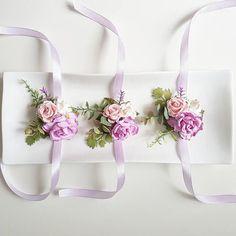 Lilac wrist corsage Bridal boho bracelet boho bridesmaids