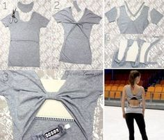 Easy diy clothes ideas, how to make a midriff flaunting top from a tank top Diy Clothes Closet, Diy Clothes Tops, Diy Clothes Hacks, Diy Clothes Patterns, Diy Clothes Design, Diy Clothes Hangers, Diy Summer Clothes, Diy Clothes Refashion, Diy Clothes Videos