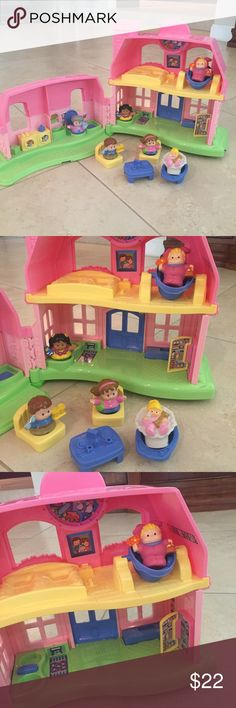 2008 Little people happy sounds doll house LOT 2008 fisher price little people doll house 🏡  playhouse with all seen in pic included(2 baby's & 4 little people-will add one or 2 more of weight permits  )  ! Has working ringing doorbell and is super cute and we'll built) not like newer sets today) convenient carry case which is great for travel and moving from room to room! ---- can not bundle this item as I just found a box to reach maximum 5lb weight limit do not bundle or would be…