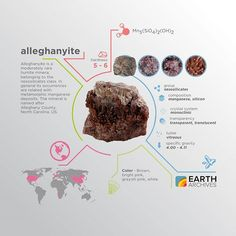 Alleghanyite is a moderately rare humite mineral, named after Alleghany County, North Carolina, US. #science #nature #geology #minerals #rocks #infographic #earth #alleghanyite #northcarolina