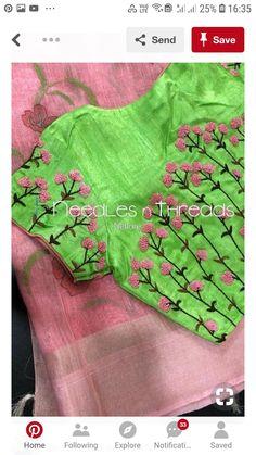 20 New Blouse Designs Patterns 2018 - ArtsyCraftsyDad Hand Work Blouse Design, Simple Blouse Designs, Silk Saree Blouse Designs, Stylish Blouse Design, Bridal Blouse Designs, Blouse Neck Designs, Lehenga Designs, Hand Embroidery Dress, Kurti Embroidery Design