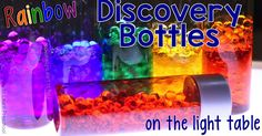 Make these gorgeous rainbow discovery bottles using just 2 items from the Dollar Store and a few bottles from the recycling bin.