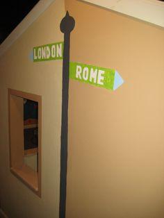 Fun street signs in the kids playroom.
