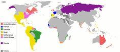 European Colonies, 1800. (Ignore Turkey/Ottoman Empire, the dark gray area.)