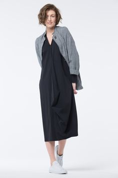 Tech fabric dress in fun shape at OSKA New York