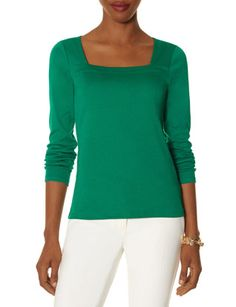 Green Blue or Black Square Neck Long Sleeve Top @ The Limited $20
