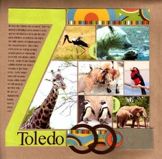 Zoo scrapbook page - like the writing against the Z