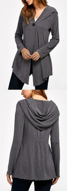 Hooded Asymetrical Duster Cardigan in a blue or green shade