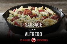 The robust taste of Smoked Sausage is perfectly blended into a pasta of heavy cream, Cajun seasoning, and Parmesan cheese in this hearty 15-minute twist on a classic dish. Hillshire Farm® Sausage Alfredo Start to Finish: 15 Minutes