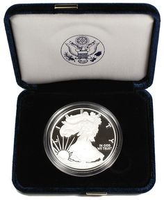 Proof Silver Eagle with display case. Silver Eagle Coins, Silver Eagles, Eagle Design, United States Mint, In God We Trust, Silver Dollar, Display Case, Precious Metals, Gems