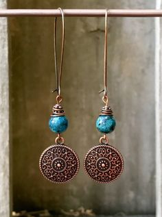 A personal favorite from my Etsy shop https://www.etsy.com/listing/534138475/turquoise-copper-earrings-boho-jewelry