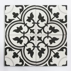 """one of our more endearing patterns- four leaf clover takes this classic """"fleur de lys"""" cement tile pattern and translates it into a straightforward emblem of decoration for any project needing a touch of retro charm. #cement #tiles #cletile Toulouse, Tiles For Sale, Thin Brick, Artistic Tile, Concrete Cement, Brick Tiles, Spanish Tile, Encaustic Tile, Light Texture"""