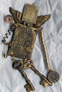 Mixed media art with keys by Jeanette Janson