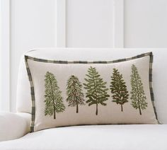 Forest Embroidered Lumbar Pillow Cover #christmastree