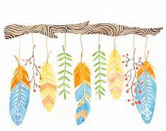 Dreamer's Branch Watercolor Feathers by StarandArrowDesigns