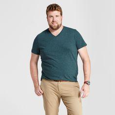 Men's Big & Tall Standard Fit Heathered Short Sleeve V-Neck T-Shirt - Goodfellow & Co Green 2XBT