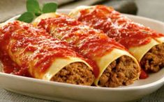 Cannelloni - Homemade Shells Filled W/ Veal & Beef In Meat Sauce (al Forno) - Pezzella's Villa Napoli - Zmenu, The Most Comprehensive Menu W. Greek Recipes, Italian Recipes, Cannelloni Recipes, Cooking Spaghetti, Spaghetti Sauce, Greek Cooking, Cheat Meal, Meat Sauce, Lasagna