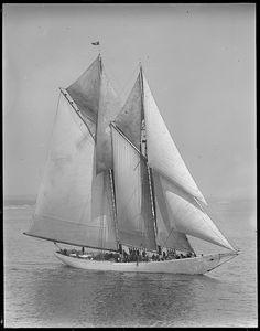 Fishing schooner Elizabeth Howard under full sail during race off Gloucester by Boston Public Library, via Flickr