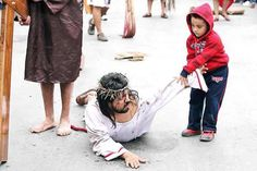 This about says it all ....... leave it to a child. When the Passion play was about to enter into the crucifixion, this boy ran over to try and help Jesus .......