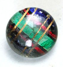 Antique Kaleidoscope Button Green Red Blue Gold Design Under glass Dome