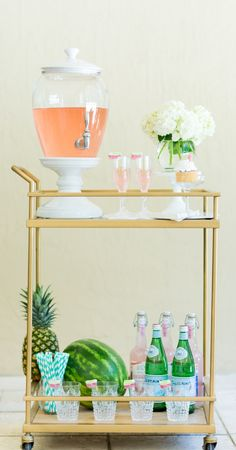 The Fashionable Hostess's Summer Time Bar Cart, featuring our Bermuda Ceramic Beverage Dispenser