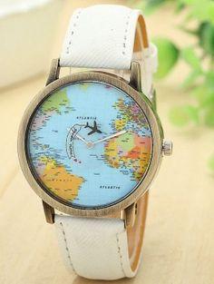 Relógio Mapa Mundi Avião - Viajar
